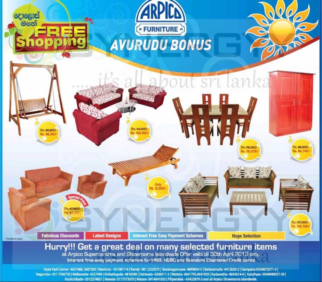 Arpico Furniture Sinhala Tamil New Year Avurudu Sale Valid Till 30th April 2013 Synergyy