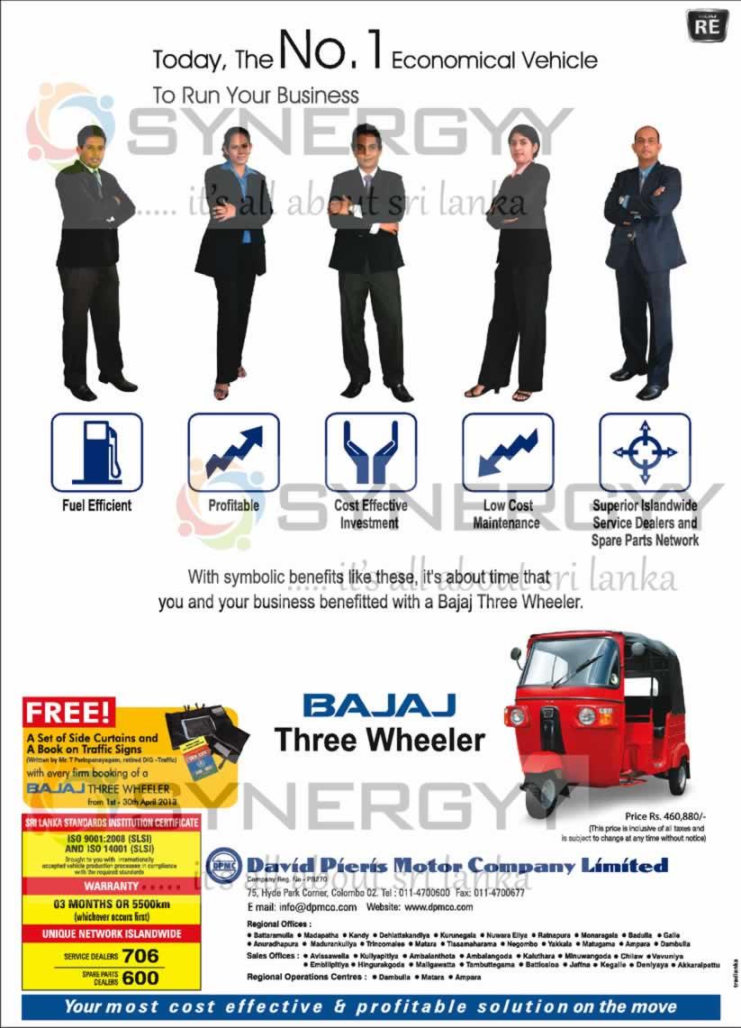 Bajaj Three Wheeler for Rs. 460,880.00(All Inclusive) – April 2013 ...