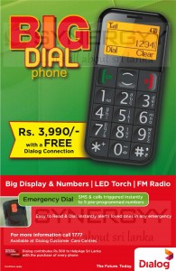Big Display & Number Mobile Phone for Rs. 3,990.00 from Dialog