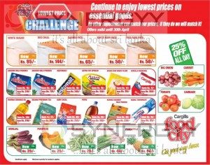 Cargills Foodcity lowest Price Offer – Valid till 30th April 2013