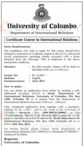 Certificate Course in International Relations by University of Colombo – Applications calls now till 10th May 2013