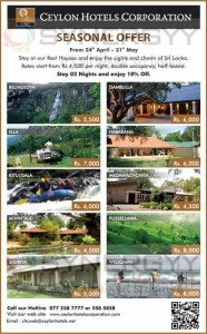 Ceylon Hotel Corporation seasonal Offer from 24th April to 31st May 2013