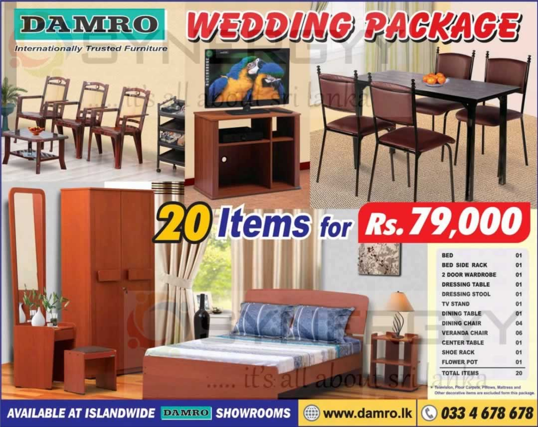Damro Wedding Package for 20 Items for Rs  79 000 00. Damro Wedding Package for 20 Items for Rs  79 000 00   SynergyY