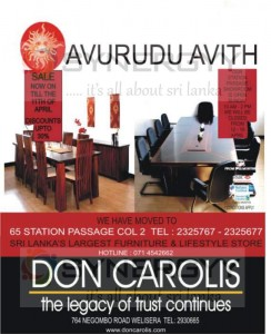 Don Carolis Furniture sales till 11th April 2013 – Discounts Upto 30%