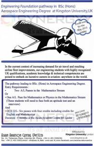 Engineering Foundation pathway in B.Sc (Hons) Aerospace Engineering Degree at Kingston University,UK
