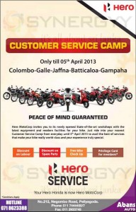 Hero Customer Service Camp – Discounts on Service Till 5th April 2013
