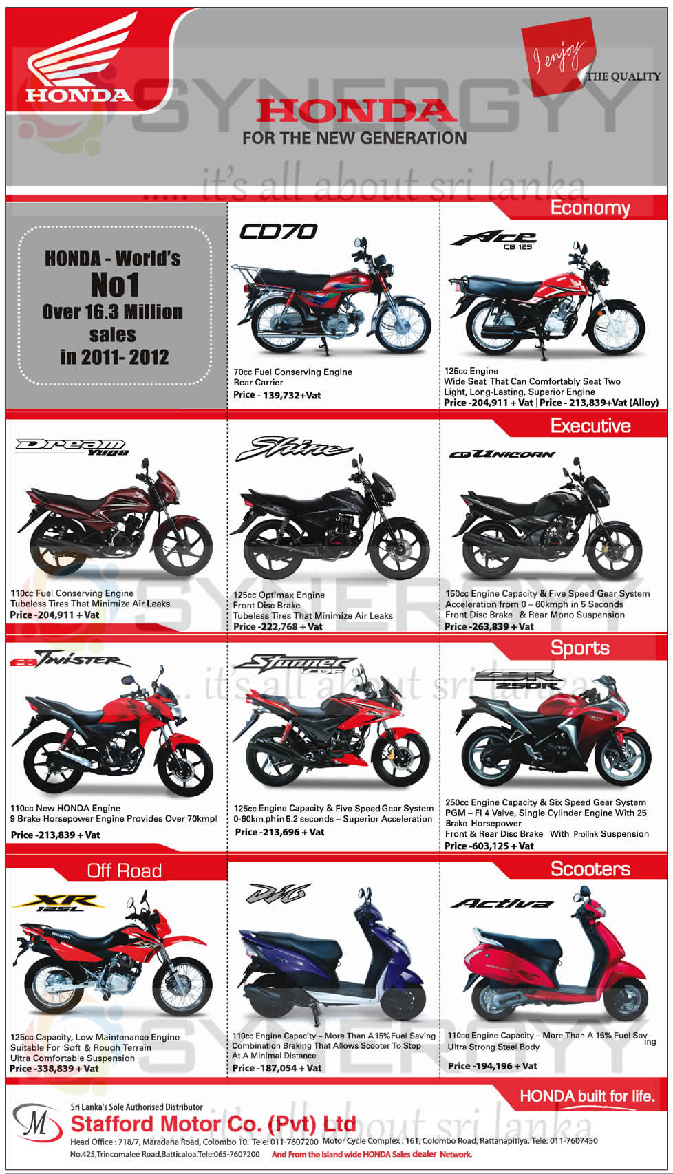 Honda Motor Cycles updated Prices in Sri Lanka April 2017  : Honda Motor Cycles updated Prices in Sri Lanka April 2013 from www.synergyy.com size 978 x 1706 jpeg 239kB
