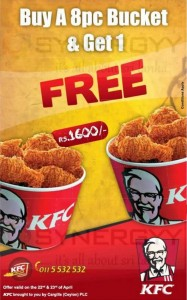 KFC Sri Lanka Buy a 8pc Bucket & Get 1 Free – Only on 22nd & 23rd April 2013