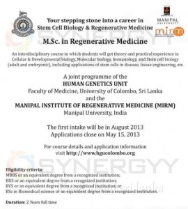 M.Sc in Regenerative Medicine from University of Colombo