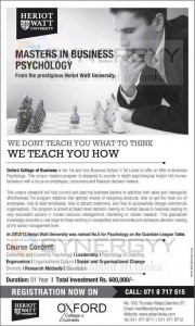 Master in Business Psychology – Heriot Watt University