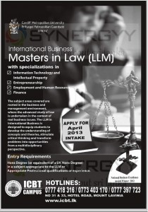 Master in Law (LLM) Degree Programme by ICBT, Sri Lanka