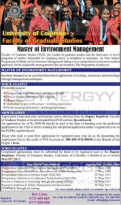 Master of Environment Management – University of Colombo