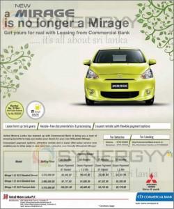 Mitsubishi Mirage for Rs. 3,515,000.00 upwards – April 2013