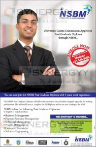 NSBM Post Graduate Diploma Programme in Sri Lanka – April 2013