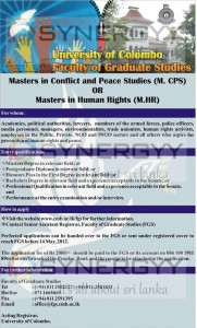 Postgraduate Diploma in Conflict and Peace Studies (PgD.CPS) - University of Colombo