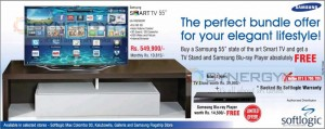 "Samsung Smart TV 55"" with Free Life Style  TV Stand and Blu-ray Player for Rs. 549,900.00"