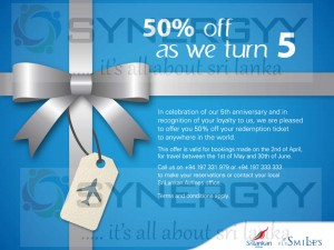 Sri Lankan Airline 50% off only on 2nd April 2013
