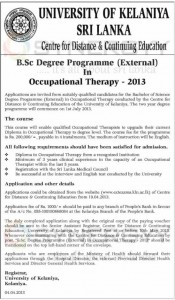 University of Kelaniya Sri Lanka B.Sc Degree Programme (External) in Occupational Therapy – 2013 – Applications call Now