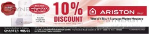 10% Discount on Ariston Water Heaters till 30th July 2013