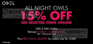 15% off at ODEL Online purchases on 25th & 26th May 2013 from 8.00 Pm to 10.00Pm