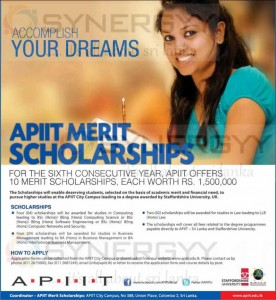 APIIT Merit Scholarships for Undergraduates worth of Rs. 1,500,000 each – Open Now