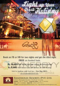 Book 2 days and get Extra day for Free from Randholee Resorts for Vesak Holidays