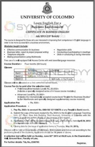 Certificate in Business English – University of Colombo – July 2013 Intakes