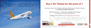 Buy one Air Tickets and Get one Free from Tiger Airways for HSBC Credit Cards - 1st May to 15th May 2013