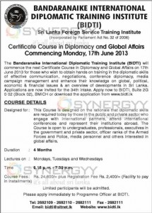 Certificate Course in Diplomacy and Global Affairs by (BIDTI)