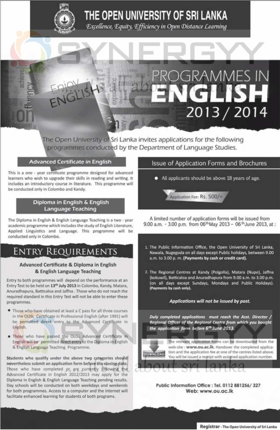 Certificate and diploma in english and english language teaching certificate and diploma in english and english language teaching programme from open university of sri lanka 1betcityfo Gallery