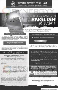 Certificate and Diploma in English and English Language Teaching Programme from Open University of Sri Lanka – Enrolment calls