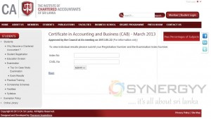 Chartered Accountants of Sri Lanka Released result for Certificate in Accounting and Business (CAB) March 2013