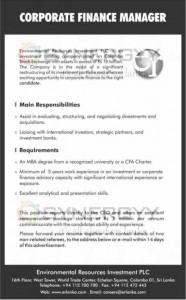 Corporate Finance Manager Vacancy – Environmental Resource Investment PLC