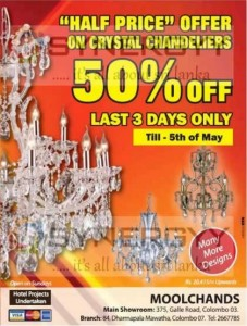 Crystal Chandeliers for Half price till 5th May 2013