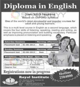 Diploma in English – Royal Institute – June 2013 Enrolment