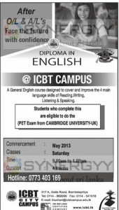 Diploma in English by ICBT Campus – May 2013