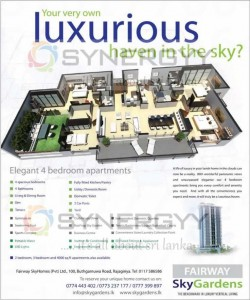 Fairway Sky Gardens a Condominium Apartment in Sri Lanka