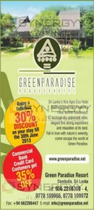 Green Paradise Discounts upto 35% till June 2013