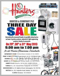 Hunters 3 Day Sales from 29th to 31st May 2013