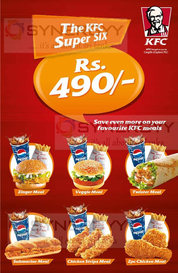 Kfc Sri Lanka Super Six Promotions For Rs 490 00 171 Synergyy