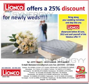 Lionco Mattresses for25% Discount – Valid till 30th June 2013