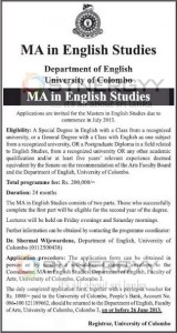 MA in English Studies from University of Colombo