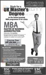 MBA from BSC for Rs. 490,000.00 in Sri Lanka – Enrolment starts now