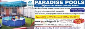 Paradise Pools – a Ground Pool with Discount of 5% to 15% till 31st May 2013