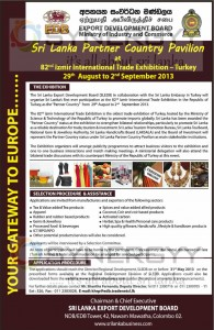 Partner Country 82nd Izmir International Trade Exhibition in Turkey – 29th Aug to 2nd Sep 2013