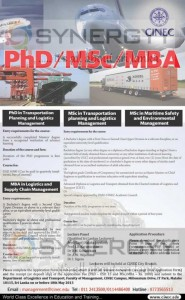PhD, MSc and MBA Degree Programme in Transportation Planning and Logistic Management
