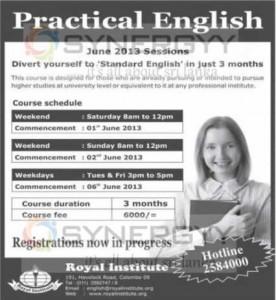 Practical English – Royal Institute – June 2013 Enrolment