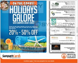 Sampath Bank Holidays Galore – 20% to 50% off from now to 30th June 2013