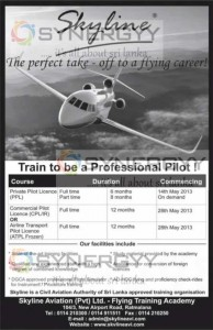 Skyline Professional Pilot Courses – Commencement from 14th May 2013