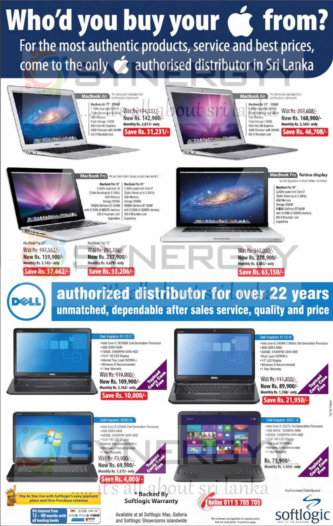 Softlogic Laptop Offers On Macbook And Dell Inspiron May 2013